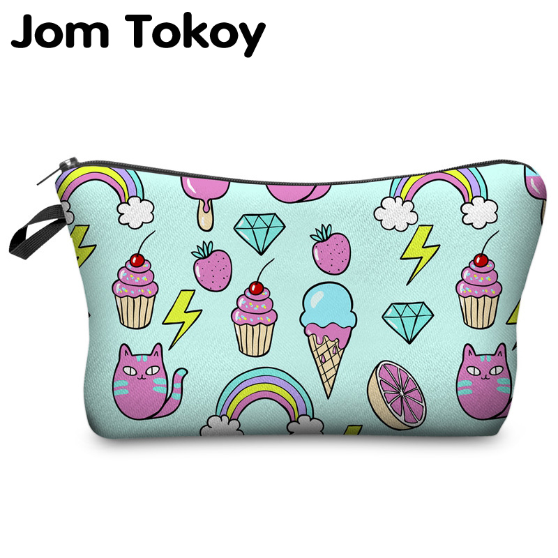 Jom Tokoy 2018 cosmetic organizer bag Pink And Mint Doodle 3D printing Cosmetic Bag Fashion Women Brand makeup bag jom tokoy cosmetic bag fashion women brand makeup bag 3d printing unicorn cosmetic organizer bags