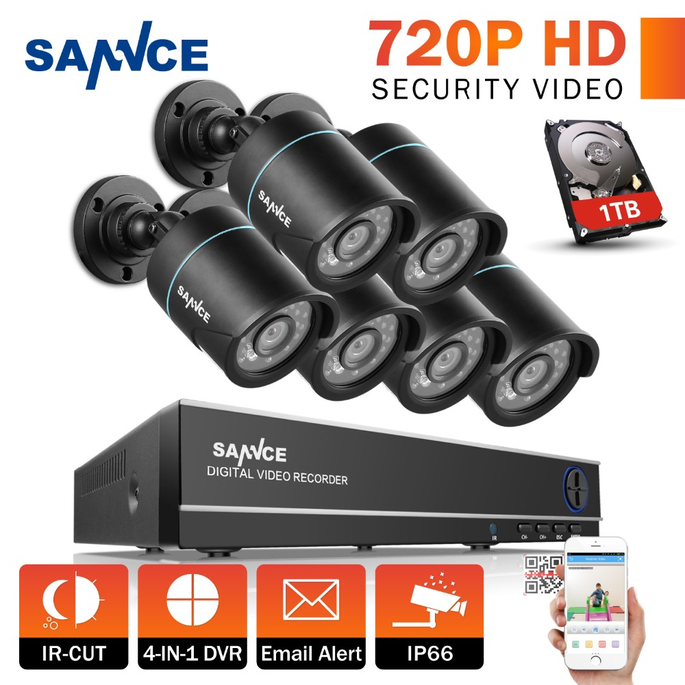 SANNCE 8CH 1080P HDMI Output CCTV System 6PCS 720P TVI CCTV Security Cameras Waterproof IR outdoor Surveillance Kit 1TB HDD annke 8ch 720p 1500tvl cctv system 8pcs 720p ir outdoor security cameras 8ch 1080n 4in1 dvr kit cctv surveillance system