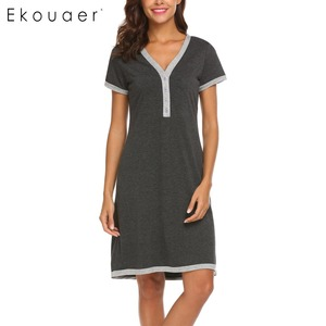 Image 4 - Ekouaer sukienka wieczorowa koszule nocne bielizna nocna macierzyństwo karmienie piersią koszula nocna domowa koszulka z krótkim rękawem damska dekolt nocna koszula nocna