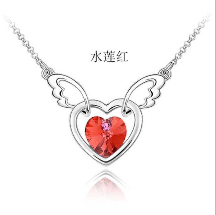 New 10 COLOR Guardian angel heart love Crystal from Swarovski Crown Necklace Flashing For Woman Christmas Gifts Wedding jewelery