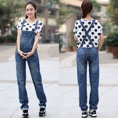 Free Shipping 2016 Fashion Long Pants Plus Size S-3XL Trousers Denim Bib Pants Loose Straight Casual Pants Jumpsuit And Rompers  цены онлайн