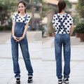 Free Shipping 2016 Fashion Long Pants Plus Size S-3XL Trousers Denim Bib Pants Loose Straight Casual Pants Jumpsuit And Rompers