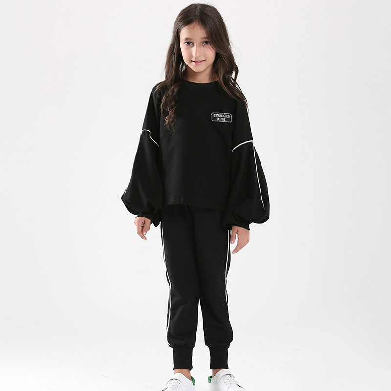 Tanggetu 2018 Spring Girls Clothes Autumn Female Baby Suit Korean Fashion Two Pieces Sweater Pants Solid Girls Black ChothTanggetu 2018 Spring Girls Clothes Autumn Female Baby Suit Korean Fashion Two Pieces Sweater Pants Solid Girls Black Choth