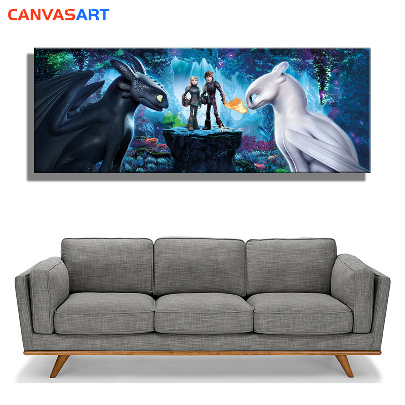 Canvas Art Movie How To Train Your Dragon 3: The Hidden World Hiccup Toothless White Night Fury Poster Boy Room Decoration