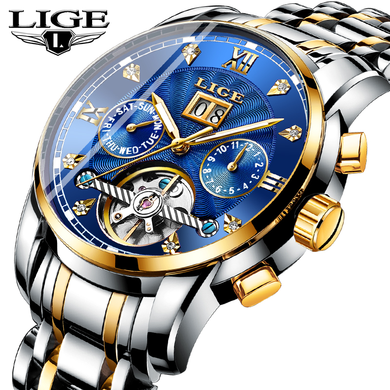 LIGE Top Brand Luxury Men Watches Male Mechanical Watches Men Waterproof Motion Stainless Steel Business Watch Relogio MasculinoLIGE Top Brand Luxury Men Watches Male Mechanical Watches Men Waterproof Motion Stainless Steel Business Watch Relogio Masculino