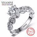 1.5 Carat Zirconia Wedding Engagement Rings For Women Real 925 Solid Silver Jewelry Female Ring Bijoux Bague Wholesale AR088