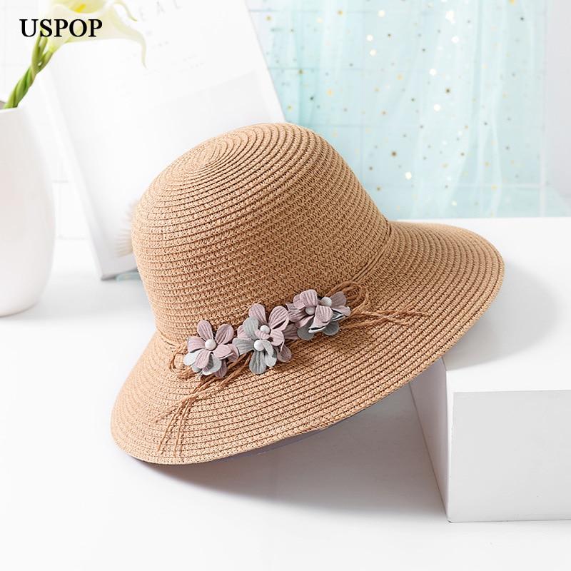 USPOP 2018 Új divat nők nyári virág nap kalap lélegző gyöngy - Ruházati kiegészítők