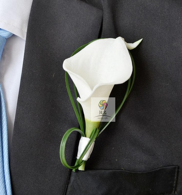2017 New white calla lily wedding decoration Hand Made Corsage For Groom Groomsman Boutonnieres pin brooch party culb prom