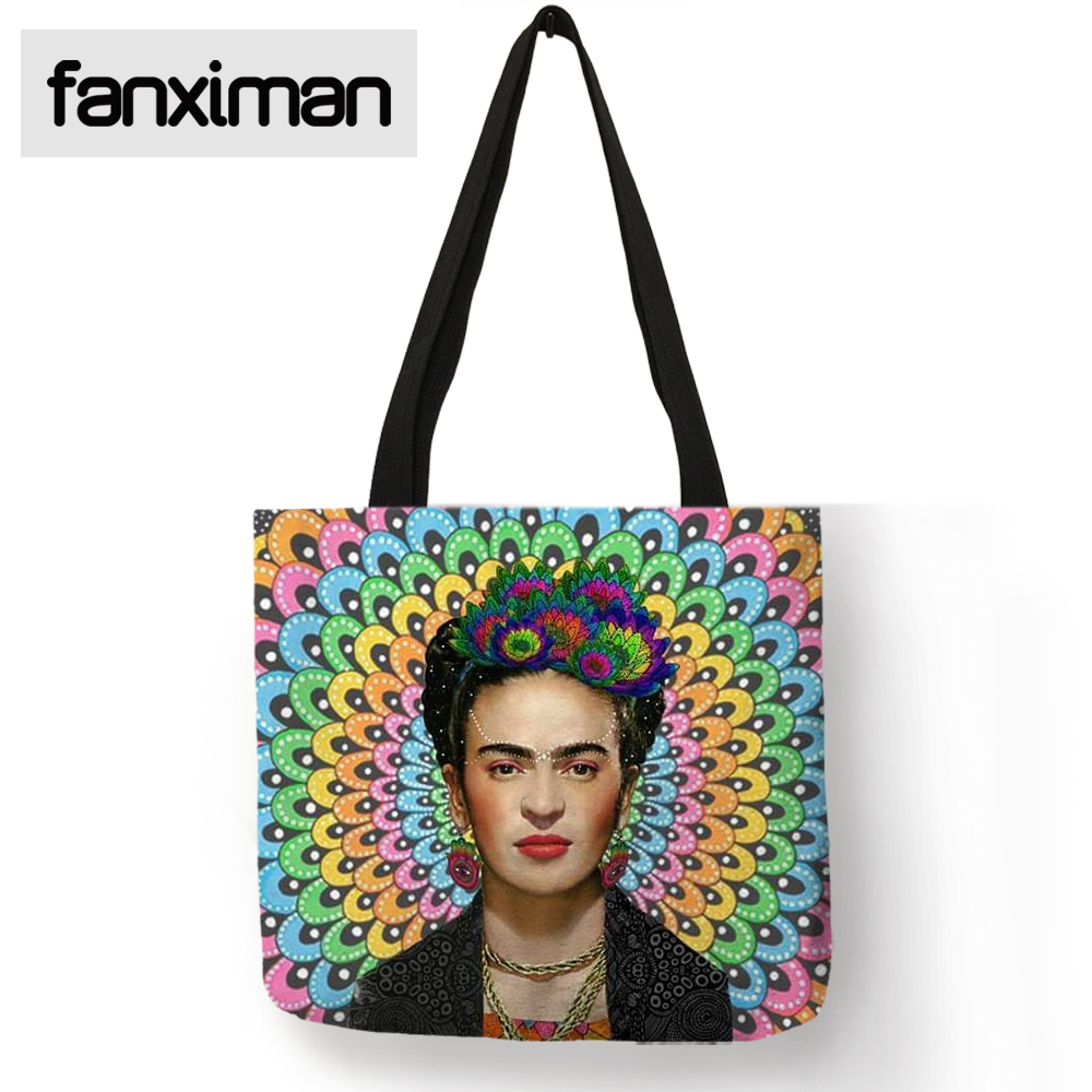 Faxniman Exclusive Sale Frida Kahlo Print Tote Bag Linen Reusable Shopping Totes Travel Beach Folding Storage Bags Clothes