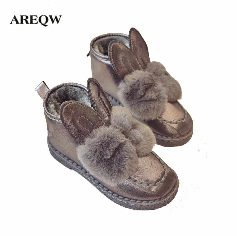 25f289d7 AREQW/классические женские сапоги кроличьи уши блестками из искусственного  меха удобные теплые ботинки в австралийском