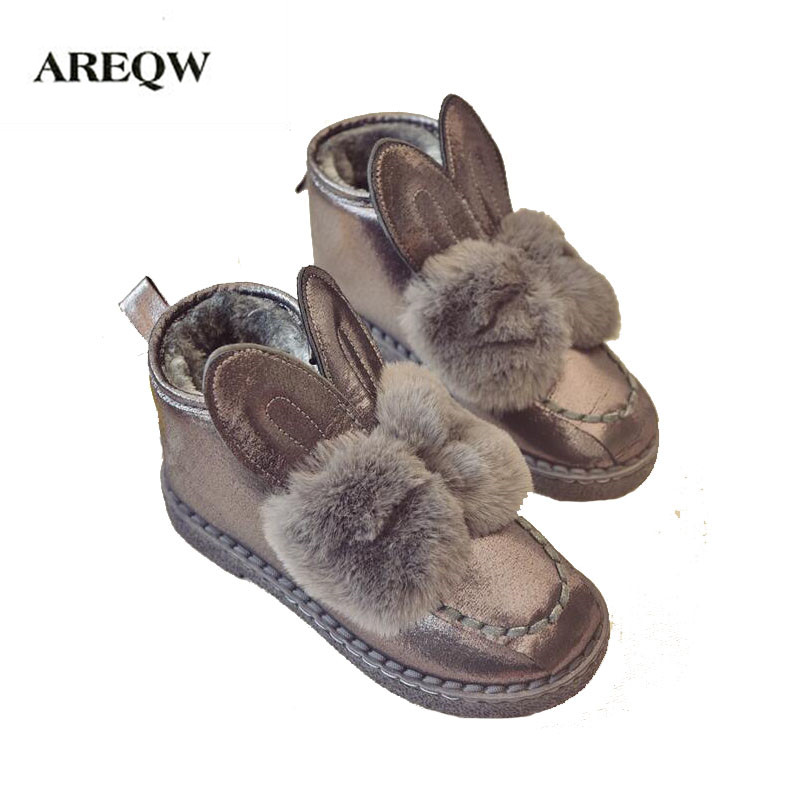 AREQW Classic Women Boots Rabbit ears Sequined Faux Fur Comfortable Warm Australia Boots Fashion Women Snow Boots Winter Shoes