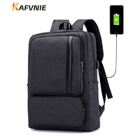 KAFVNIE Brand 15 6inch USB Charging Black Travel Men Backpack Fashion Laptop Backpack Splashproof Lager School