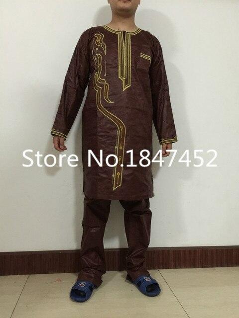 (Бесплатная доставка) африканские платья новая африканская мода базен riche вышивка мужчины рубашка с брюк два шт один комплект PH2