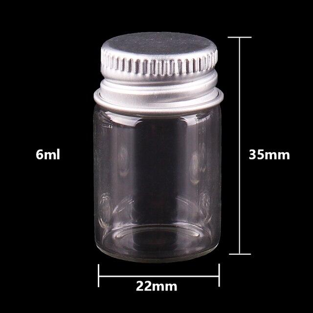Flacons en verre Transparent 5ml 6ml 7ml 10ml 14ml | Minuscules bouteilles en verre avec bouchon à vis argenté flacons mignons bricolage 100 pièces