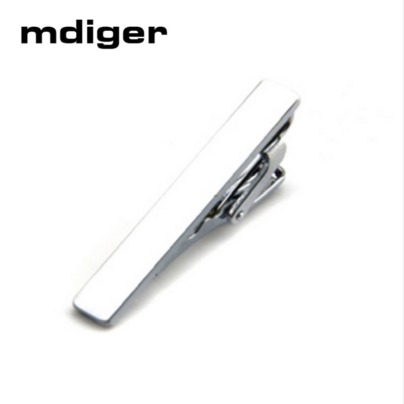Mdiger Brand Mens Skinny Tie Clip Pins Short Silver Men Metal Necktie Tie Bar Mens Chrome Clamp Stainless Steel Plain Tie Clip
