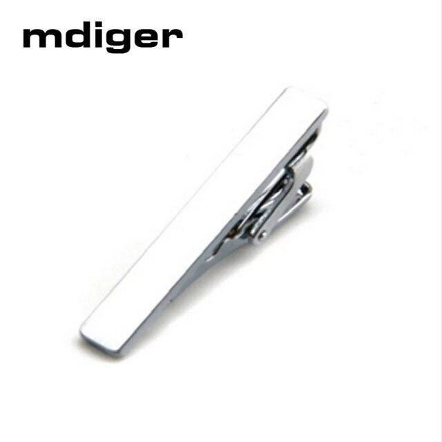 Mdiger Brand Mens Skinny Tie Clip Pins Short Silver Men Metal Necktie Tie Bar Mens Chrome Clamp Stainless Steel Plain Tie Clip