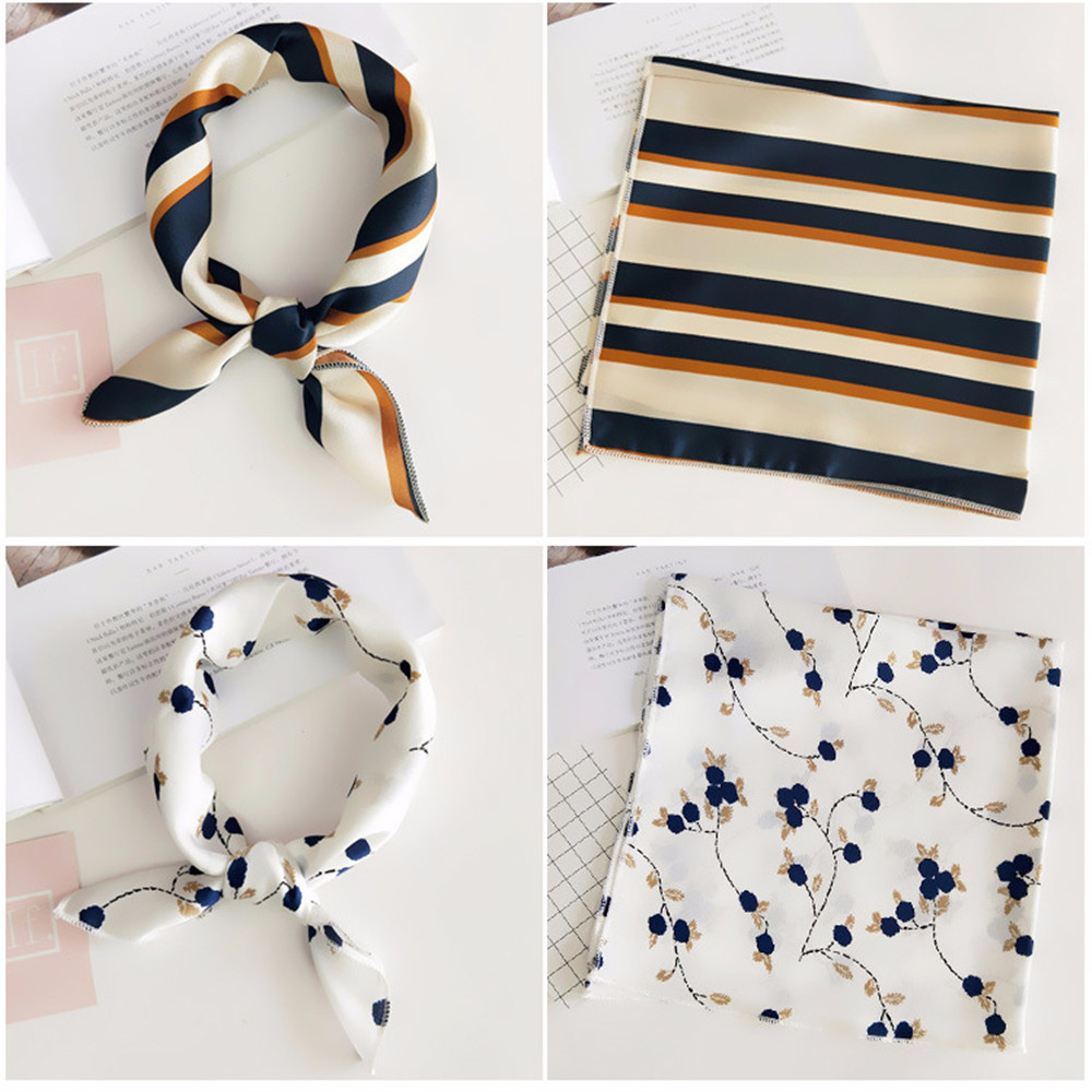50*50cm Square Scarf Hair Tie Band For Business Party Women Elegant Small Vintage Skinny Retro Head Neck Silk Satin Scarf(China)