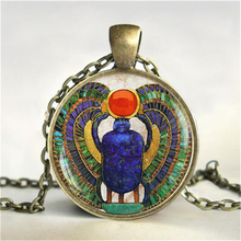 Wholesale 27MM Round Glass Dome Egyptian Scarab Pendant Choker Necklace , Ancient Egypt Jewelry, Egypt Necklace HZ1