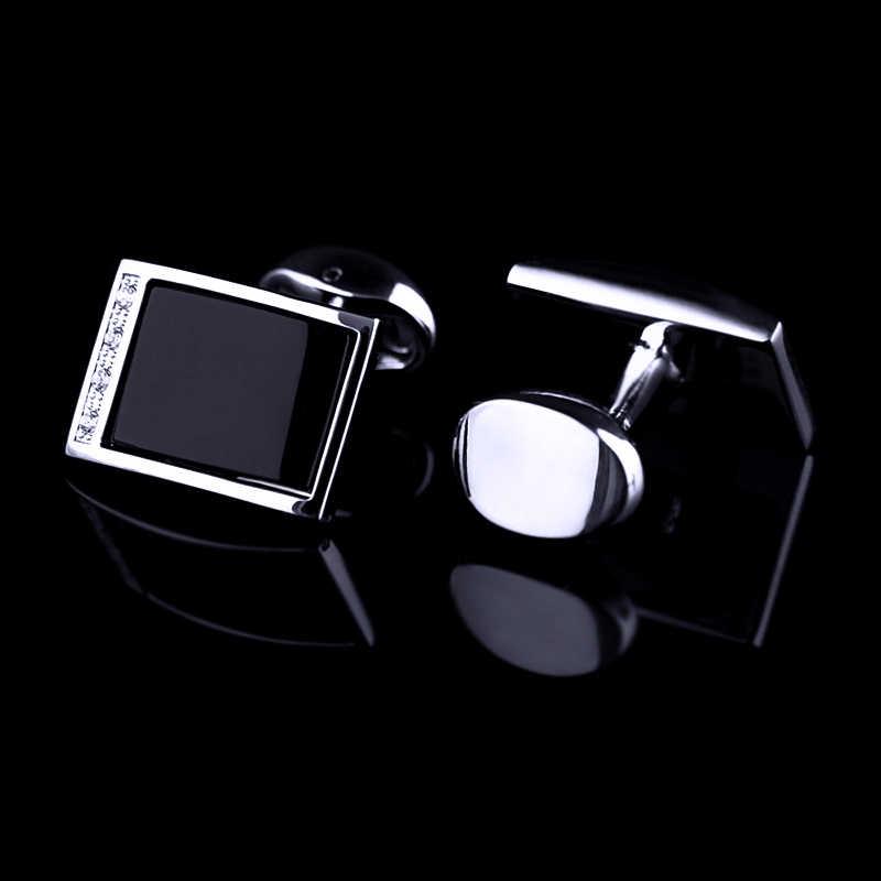 KFLK camisa abotoaduras para o Presente dos homens 2019 de Luxo QUENTE Marca botões de punho de Cristal cuff link abotoaduras Jóias de Alta Qualidade Preto