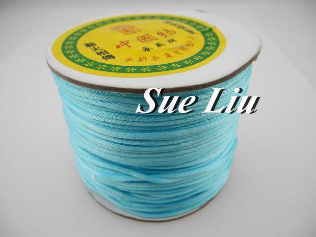 100yds 2mm Lt Aqua Rattail Satin Cord Chinese Knot Beading Cord: Nylon NCN6S
