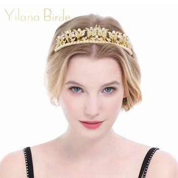 Pearl Wedding Tiara Crown Queen Women Bridal Hair Accessories Headpiece Hair Jewelry Bride Accessories Set Crown Earrings headpiece