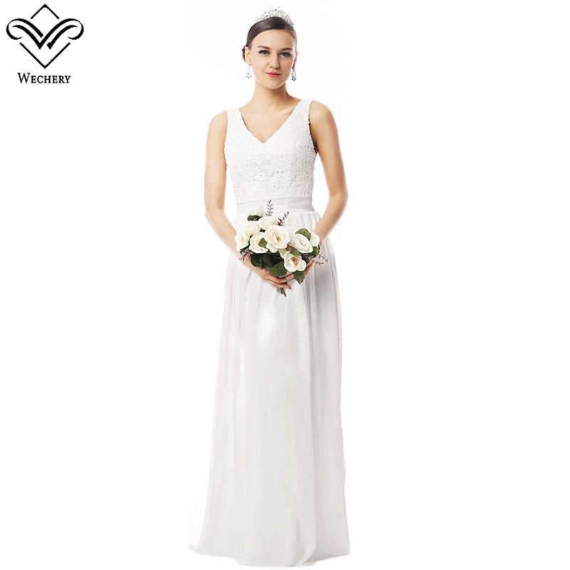 Wechery Maxi White Dress White Formal Dresses Wedding Bridal Bride's Maid Gown Long Sleeveless V Neck Clothes 2018 Women Vestido