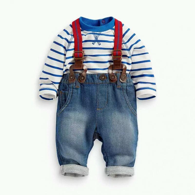 noworodek chłopiec ubrania zestawy bawełniane paski tshirt + - Ubrania dziecięce - Zdjęcie 2