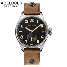 AGELOCER Mens Mechanical Watch Individual Seconds Hand Aviator Military Watches Army Leather Waterproof Male Relogio Masculino