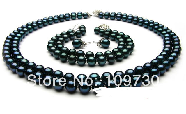 """Jewelry 00578 AAA round black Freshwater Pearl necklace 8"""" braclet earrings jewelry set CAN CHOOSE (A0423) -Top quality free shi"""
