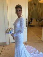 2016 New Arrival Wedding Dress Sexy Mermaid Backless Lace Long Sleeves Women Wear Bridal Gown Free Shipping HS282