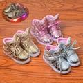 Bebê moda led light up shoes asa patchwork garoto bonito sneaker luminosa unisex crianças brilhantes lantejoulas lace-up shoes
