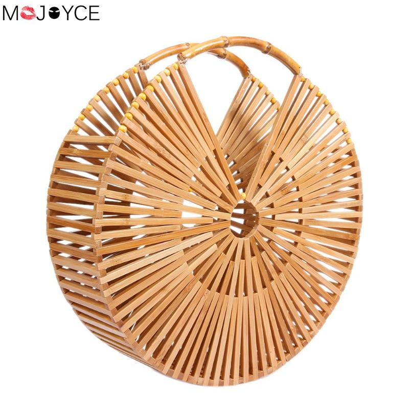 2018 Fashion Summer Beach Casual Vintage Bamboo Women Straw Round Handbag Hollow Out Circle Purse Clutch Wristlets Hot Style цены онлайн