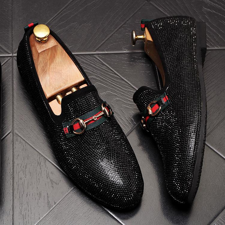 Mens Luxury Designer Fashion Leader Rhinestone Charm Platform Shoes Hip Hop Rock Prom Homecoming Zapatos Hombre Moccasins 60