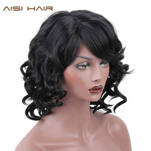 AISI HAIR  Synthetic Short Wigs For Black Women Wavy With Bangs Hairstyle Heat Resistant