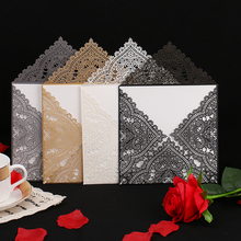 12pcs Wedding Party Invitation Card Romantic Decorative Cards Envelope Delicate Carved Pattern Invitations Supply