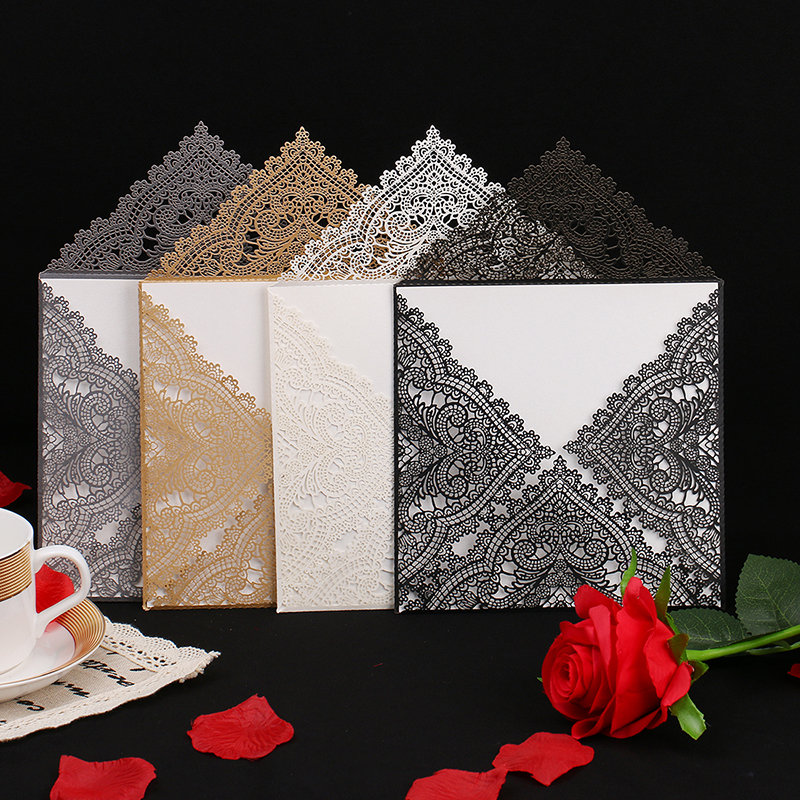12pcs Wedding Party Invitation Card Romantic Decorative Cards Envelope Delicate Carved Pattern