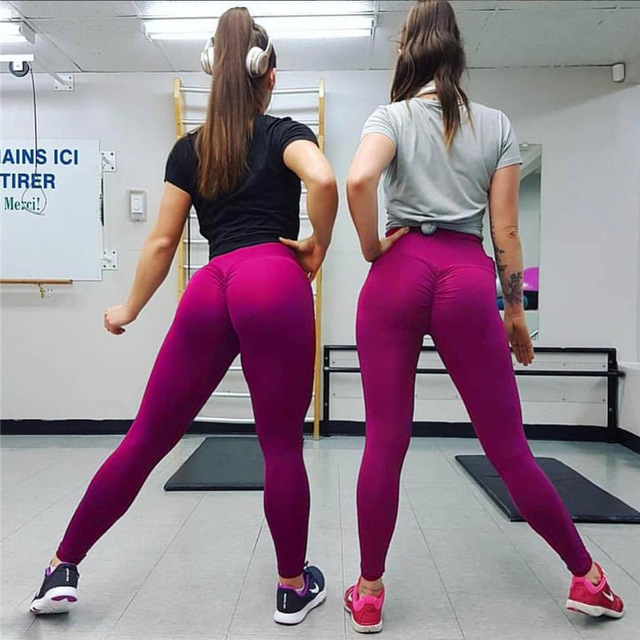 SALSPOR Solid Standard Fold Yoga Pants Women High Waist Push Up Tight Fitness Leggings Gym Women Running Workout Sport Leggings 6