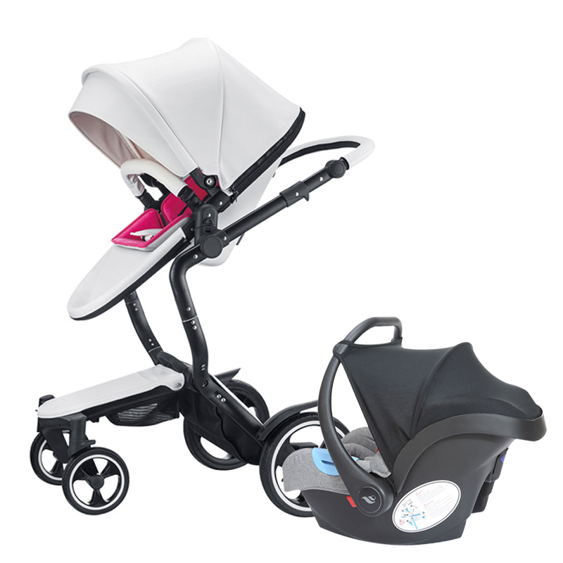 3 in 1 baby stroller leather foofoo baby luxury fashion baby carriage for the 4 runner  pram white black frame newborn baby car deluxe how luxury lost its