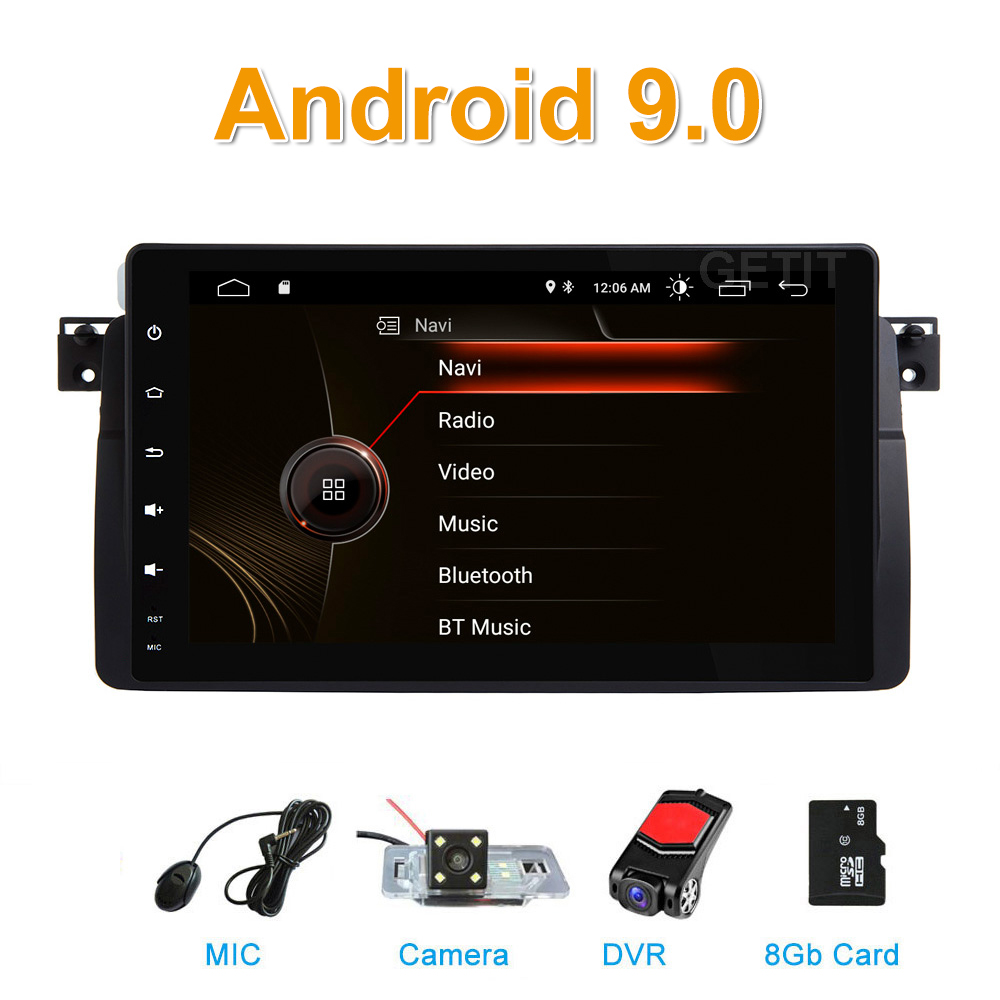 Autoradio Android 9.0 pour BMW E46 M3 318/320/325/330/335 Rover 75 1998-2006 GPS Navigation BT Wifi