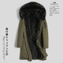 Real Fur Coat Natural Raccoon Fur Liner Parka Korean Fashion Jacket Men Streetwear Warm Parkas Plus Size Jackets YY612