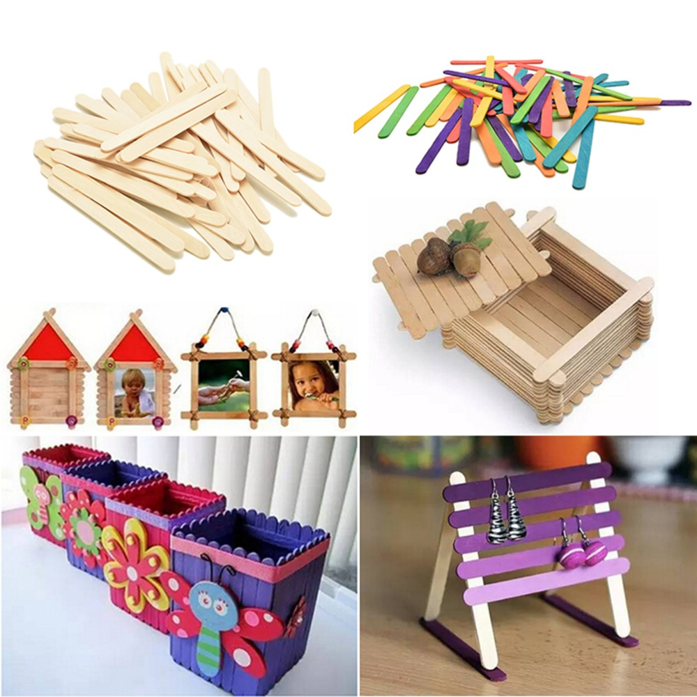 50Pcs Wood Craft Sticks Colored Hand Crafts Art Ice Cream Lolly Lollipop Popsicle DIY Funny Children Gift In Blocks From Toys Hobbies On