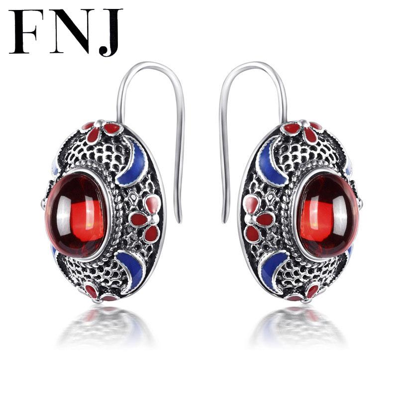 FNJ 925 Sterling Silver Brincos Garnet Red Stone Earring Natural Lapis Lazuli S925 Silver Earrings Women