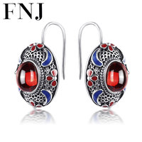 FNJ 925 Sterling Silver Brincos Garnet Red Stone Earring Natural Lapis Lazuli S925 Silver Earrings Women Jewelry LE05