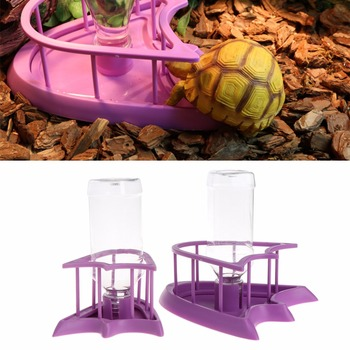 1PC Reptile Tortoise Pet Feeding Drink Bottle Bowl Food Water Dispenser Feeder With Bottles Tray 2-type High Quality C42