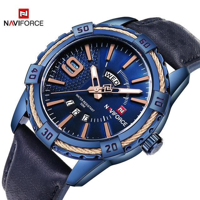 Naviforce Top Brand Men's Sport Watches Men 30M Waterproof Genuine Leather Analo