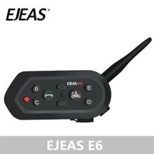 EJEAS E6 1200 متر الداخلي للدراجات النارية خوذة تحوي سماعة بلوتوث VOX MP3 لتحديد المواقع USB 550 مللي أمبير بطارية ل 6 الدراجين الملحقات