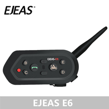 EJEAS E6 Bluetooth Intercom Motorcycle Headset Kit Manos Libres 1200m VOX MP3 GPS Helmet Speaker Metal Clamps Full Face