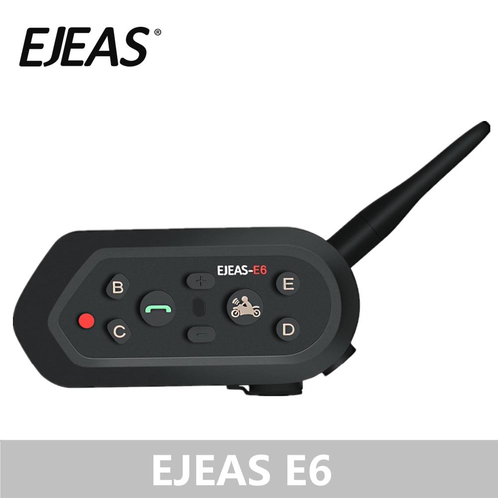 EJEAS E6 Kit Interfone Do Bluetooth Motocicleta Fone De Ouvido Manos Libres 1200 m VOX MP3 GPS Orador Capacete Grampos De Metal Rosto Cheio