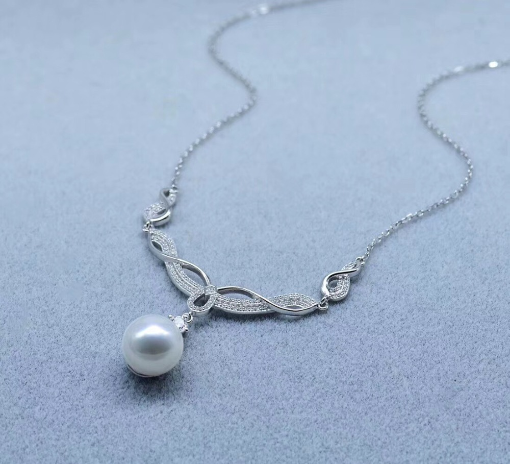 European 925 Sterling Silver Pearl Necklace Chain with Pendant Mountings Necklace Findings Jewelry Parts Fittings Accessories