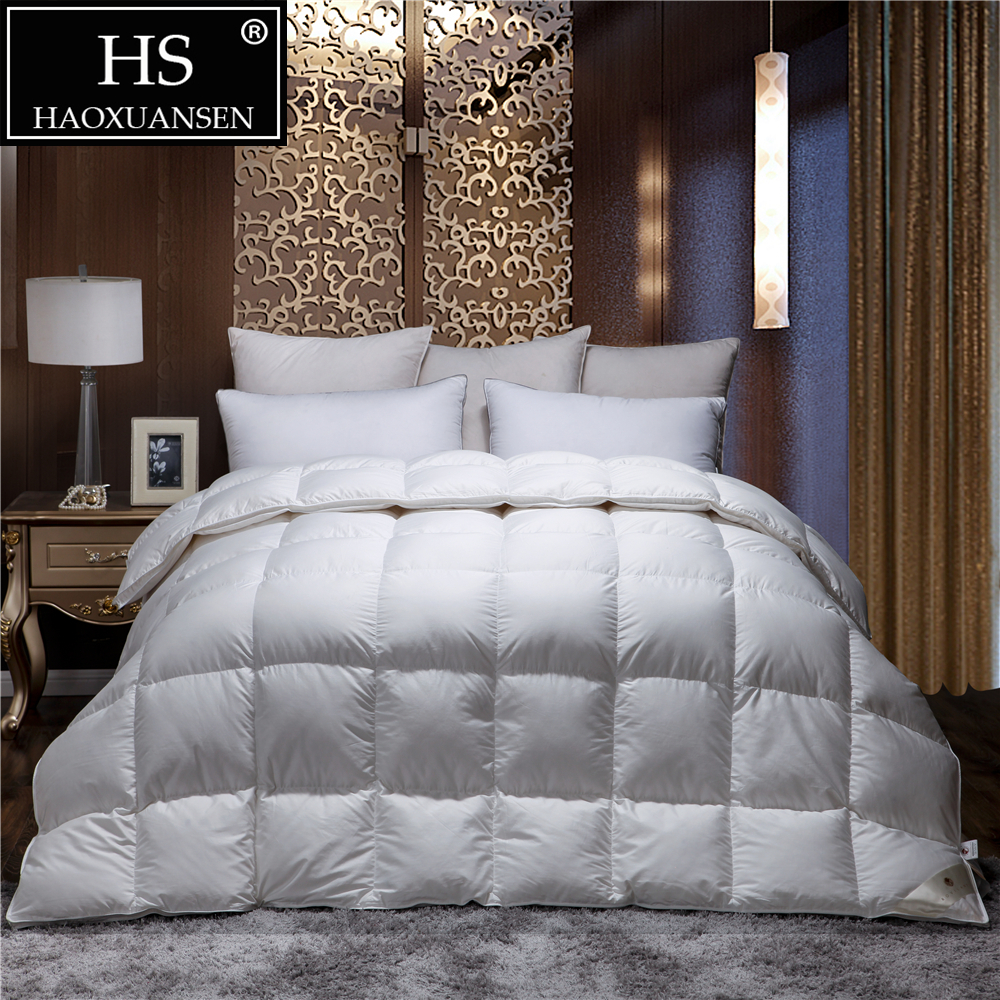 HS Filling Power 800 High density Cotton Viscose Blende 80S Fabric Goose Down Quilt King Queen Size White Duvet Winter